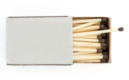 Opened boxes of matches. On a white background stock photos