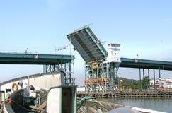 Opened bridge in Göteborg (Sweden). De Götaälvbron is a high bridge over the Göta Channel in Göteborg. The bridge has been opened for ships to pass stock images
