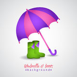 Opened bright umbrella and rain boots Stock Image