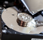 Opened and broken the hard drive. Close-up Royalty Free Stock Photography