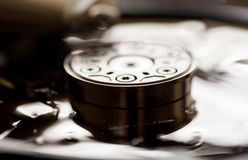 Opened and broken the hard drive. Close-up Stock Image