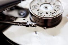 Opened and broken the hard drive. Close-up Stock Images