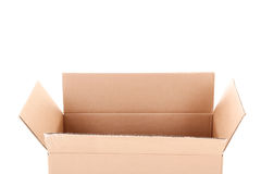 Opened brown carton box isolated on white Royalty Free Stock Photo