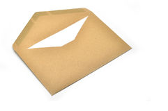 Opened brown envelope with paper Stock Photography