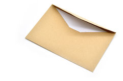 Opened brown envelope with paper Royalty Free Stock Photo