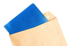 Opened brown Recycle  Big  envelope with blue color  paper lette Royalty Free Stock Photography