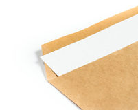 Opened brown Recycle  Big  envelope with paper letter inside on Stock Images