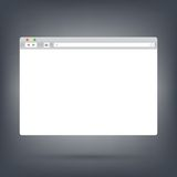 Opened browser window template on dark background . Past your content into it Royalty Free Stock Photos