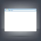 Opened browser window template on dark background . Past your content into it Royalty Free Stock Images