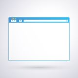 Opened browser window template on light background for your design and your text Stock Photography