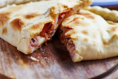Opened calzone a Stock Image