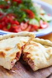 Opened calzone Royalty Free Stock Images