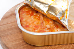 Opened can of baked beans with sausage Royalty Free Stock Photography