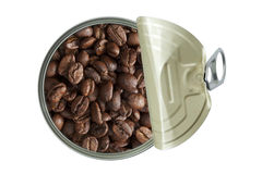 Opened can with coffee beans Stock Images