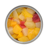 Opened can of fruit cocktail isolated on a white background Royalty Free Stock Images