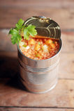 Opened can of lentil vegetable soup Stock Images