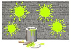 An opened can of luminous green paint with brush against a deep grey brick wall of paint splashes. A computer generated illustration image of an opened can of vector illustration