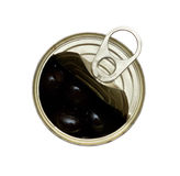 Opened can of olives Royalty Free Stock Photography