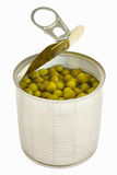Opened can with pea with key lid. Isolated over white background Royalty Free Stock Photography