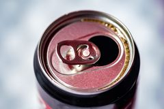 An opened can ready for drink stock photo