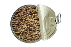 Opened can with rices Stock Images