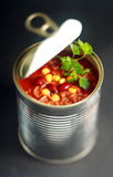 Opened can of wholesome vegetable soup Royalty Free Stock Images