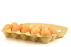 Opened cardboard box with eggs Royalty Free Stock Photo