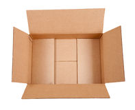 Opened cardboard box. Isolated over white Stock Image