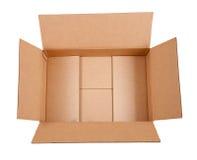 Opened cardboard box. Isolated over white Stock Image