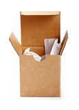 Opened cardboard box isolated on white Royalty Free Stock Photography