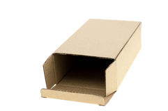 Opened cardboard box Isolated royalty free stock photo
