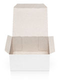 Opened cardboard box isolated on white Royalty Free Stock Images