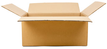 Opened cardboard box parcel Stock Photo