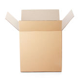 Opened cardboard box taped up Stock Photos