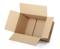 Opened cardboard box taped up Royalty Free Stock Images