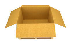 Opened cardboard box on wooden pallete. Opened cardboard transportation box on wooden pallete. Isolated on white. 3D illustration Royalty Free Stock Image