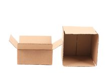 Opened cardboard boxes. Royalty Free Stock Photo