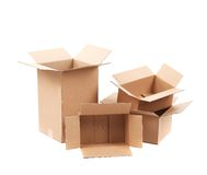 Opened cardboard boxes. Stock Photography