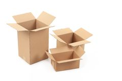 Opened cardboard boxes. Stock Photo