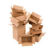 Opened cardboard boxes. Royalty Free Stock Image