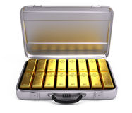 Opened case with gold bars Stock Photos