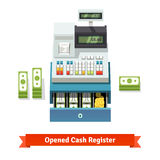 Opened cash register, paper money and coins inside. Opened cash register with printed receipt, paper money stacks and coins inside the box. Flat style vector Royalty Free Stock Photo