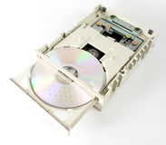 Opened cdrom unit. Cdrom compact disc computer technology laser open stock photos