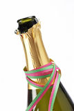 Opened champagne bottle. Detail of opened champagne bottle isolated on white background Stock Photos