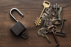 Opened check-lock and different keys concept Royalty Free Stock Images