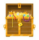 Opened chest full of treasures stock illustration