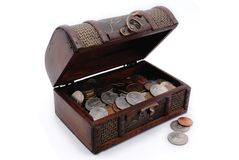 Opened chest with US coins in it. Royalty Free Stock Photos