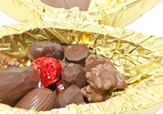 Opened chocolate Easter Egg Royalty Free Stock Photos