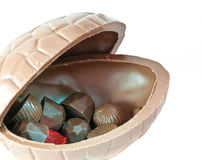Opened chocolate Easter Egg Stock Photo