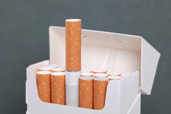 Opened cigarettes pack royalty free stock photo